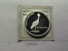 CROWNED CRANE GRUE CORONEE 20 FRANCS 2001 CONGO SILVER COIN VERY RARE COA A6