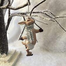 Skating Glass Hare Rabbit Gisela Graham Christmas Silver Tinsel Retro Vintage