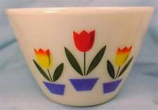 Fire King Tulips Mixing Bowl Anchor Hocking Ivory Splash Proof 3 Qt Vintage