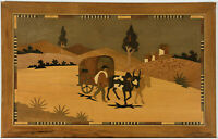 20th Century Wood Engraving - Marquetry Panel of a Village Scene
