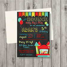 Bounce House Red Boy or Girl Birthday Party Invitation Digital File