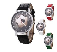 Football Wrist Watch Men Boy's Girl's Children Kids Gift Stocking Leather Band