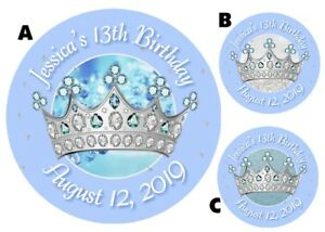 PRINCESS CROWN TIARA BLUE & SILVER ROUND LABELS BIRTHDAY PARTY STICKERS FAVORS