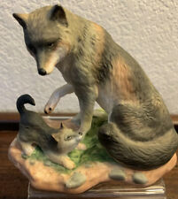 Gray Wolf. Franklin Mint Endangered Mother and Baby Animal Collection, 1989,