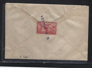 SARAWAK POSTAL HISTORY (PP1509B)KGVI 8C PAQUETBOT SS BELAGA TO SINGAPORE