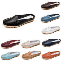 UK Women Real Leather Hollowed Loafers Mules Flats Backless Casual Sliders Shoes