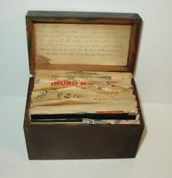 Vintage Old 1950's-60's Wooden RECIPE BOX Filled with Recipes