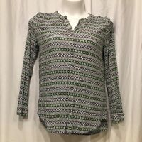 Ann Taylor Loft Womans Medium Popover Tunic Blouse Long Sleeve Geometric     M19