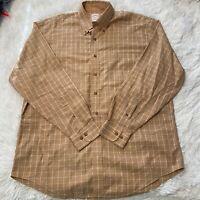 Brooks Brothers 346 Mens Sz Large Brown Plaid Long Sleeve Button Down Shirt EUC
