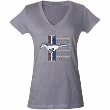 Ladies V-Neck Tri-Bar Mustang T-Shirt - From the Largest Mustang Lifestyle Biz!