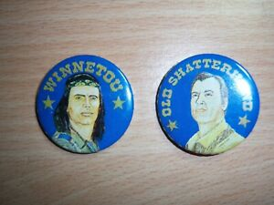 Karl May Buttons - Winnetou / Old Shatterhand - Pierre Brice / Lex Barker