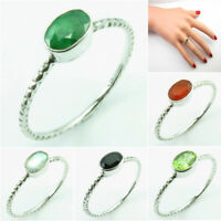 Stackable Ring Band 0.9 gm ! 925 SOLID Silver SIMULATED EMERALD & Other Gemstone