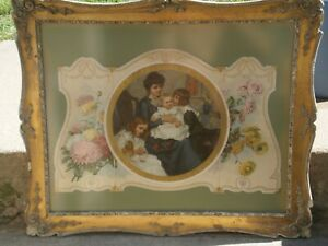 ANTIQUE TRYPTIC ART PRINT EARLY 1900'S FRAMED UNDER GLASS AWESOME