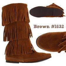 Minnetonka #1632 Dusty Brown SIZE 8 Calf Hi 3 Layer Fringe Suede Boot