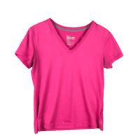 Nike Womens T-Shirt Size L Pink Regular Dri Fit V-Neck Short Sleeve Athletic Tee