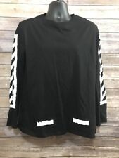 Hequ Graphic Large Long Sleeve Black T shirt, White Graphic Skater White Urban