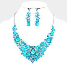 Lush Declaración Collar Corto de Cóctel de Plata Cristal Aqua establecidos por rocas Boutique