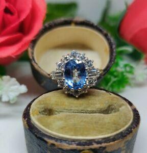 18ct Gold Sapphire and Diamond Cluster Ring. UK hallmarked Sapphire Ring. Ceylon