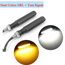 2x Motorcycle Bike Dual Color LED Amber Turn Signal + White DRL Light Waterproof