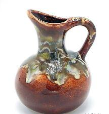 "Studio Art Pottery Pitcher Cruet Southwest Drip Glaze Brown Green Signed 5"""