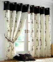 TAHITI CHOCOLATE & CREAM LINED VOILE RING TOP EYELET CURTAINS ~ Many Sizes
