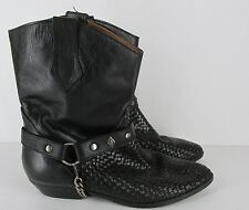 Leather Craft Vintage  Black Harness Short Ankle  Boots Women's Size 8.5 M