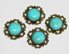 Bulk 20 pcs Turquoise cabochon with antique brass setting 20mm