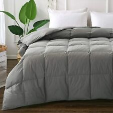 Goose Duck Down Comforter Feather Filling Bed King Queen California Grey/White