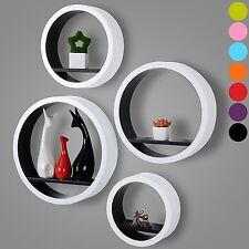 Set of 4 Floating Wall Shelf Floating Shelves Storage Lounge Wood Cube Round S15