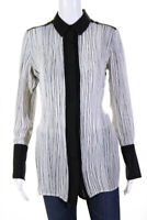 Vince Womens Striped Long Sleeve Button Up Blouse Black White Silk Size Small