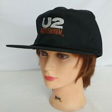 U2 Rattle and Hum Black Strapback Hat Cap BONO 1980s Irish Rock Band NOS