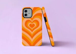 Groovy Orange Hearts 70s Lines 2 in 1 Hybrid Tough Phone Case/Cover For iPhone