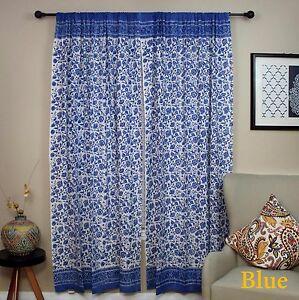 "Handmade Rajasthan Floral Block Print Cotton Curtain Drape Panel Blue 46"" x 88"""
