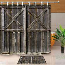 Old Wooden Barn Door Shower Curtain Bedroom Waterproof Fabric & 12hooks 71*71in