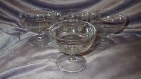 Vintage etched low sherbets champagne glasses Dessert dishes 4 Indiana glass 6oz
