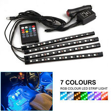 4x 12LED RGB Car Interior Atmosphere Footwell Strip Light Decor Music Control UK
