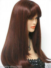 NEW39 beautiful long new brown red mixed cosplay straight health hair wig