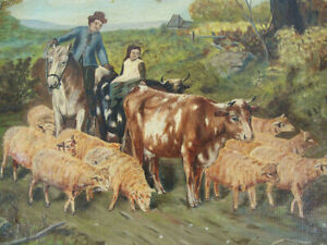 19th C Antique Bucolic Oil Canvas Naive Painting Driving Cattle Cows Sheep yqz
