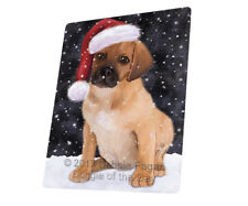 Let it Snow Christmas Holiday Puggle Puppy Dog Woven Throw Sherpa Blanket T251