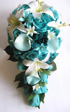17 piece package Wedding Bouquet Bridal Silk Flower Cascade TURQUOISE AQUA TEAL
