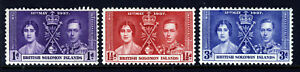 BRITISH SOLOMON ISLANDS KG VI 1937 The Coronation Set SG 57 to SG 59 MINT