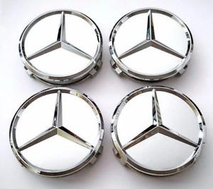 4pcs 75mm For Mercedes Silver Wheel Center Caps Hub Rim Caps Badges Emblems