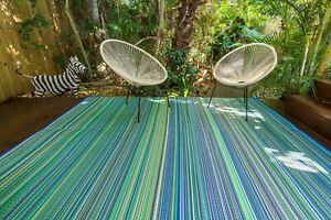 200x270cm Mexicali AQUA Outdoor/Indoor Plastic Rug/Mat Waterproof