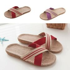 Women Men Lovers Anti-slip Linen Home Indoor Open Toe Flat Shoes Beach Slippers
