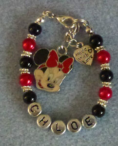 """""""Hand Crafted Childrens Pearl Beaded Bracelet With Name & Minnie Mouse Pendant"""""""""""