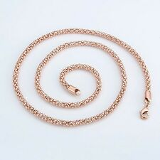 """Mens/Womens Chain 24"""" Link Fashion Jewelry 18k Rose Gold Filled unique Necklace"""