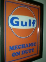 Gulf Oil Gas Service Station Garage Mechanic Lighted Advertising Sign