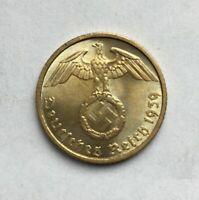 XX-RARE 1937-1939 WW2 German 5 Reichspfennig Coin /& A.H Stamp LOT
