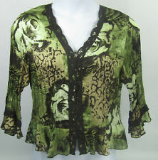 Dressbarn Women's Blouse Pleated Long Bell Sleeves Green Brown Lace Size Large