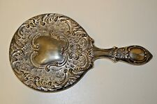 """Beautiful Heavy Vintage Antique Silver Plated Ornate Vanity Hand Mirror 8+"""" RARE"""